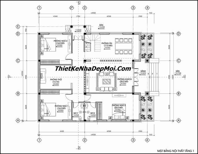 mat bang nha dep ngang 12m dai 15m - Xây nhà biệt thự cấp 4 đẹp kiến trúc hiện đại gồm 3 phòng ngủ 1 phòng thờ