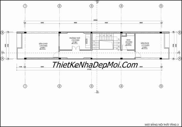 Bản vẽ nhà 2.5 tầng 4x20m
