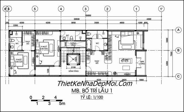 Mat bang biet thu 3.5 tầng 7.5x20m
