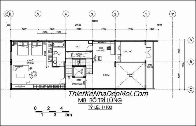 Mặt bằng lửng nhà phố 4 tầng 7,5x19m