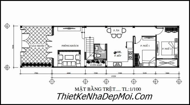 Xây nhà 1 trệt 1 lầu 1 sân thượng 5x20