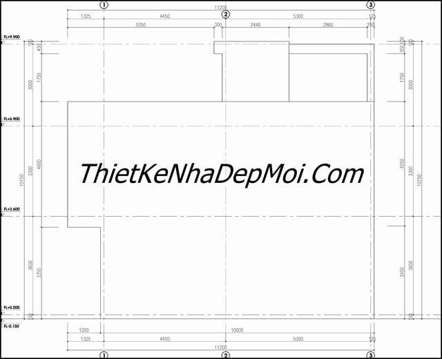 Bản vẽ nhà ống 2 tầng 6x10m