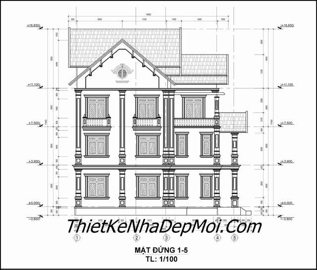 Kiến trúc nhà 3 tầng mái thái