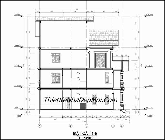 Bản vẽ nhà mái thái 3 tầng
