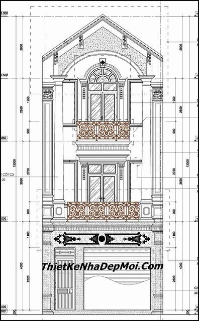 Bản vẽ nhà ống 3 tầng kiểu pháp