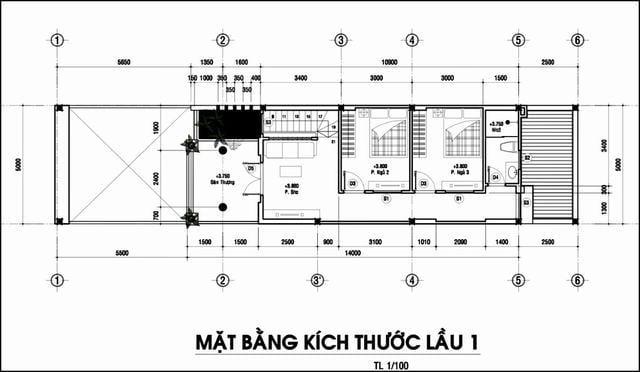 Bản vẽ nhà ống 70m2 2 tầng