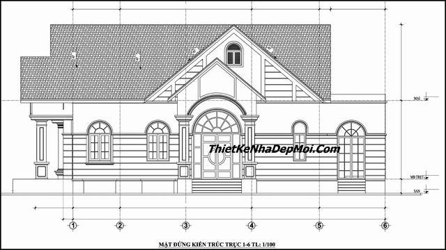 Thiết kế nhà 1 tầng 3 phòng ngủ 1 phòng thờ