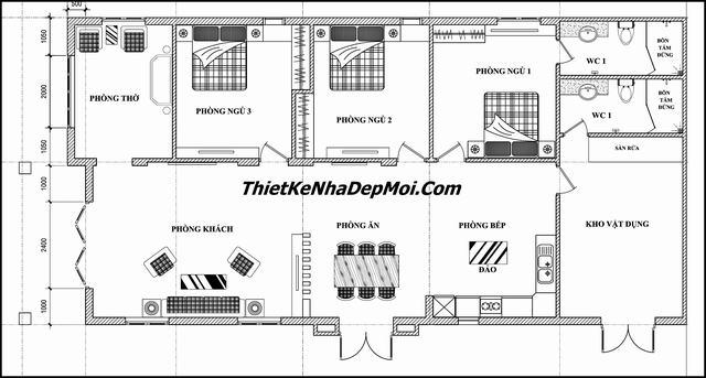 Mặt bằng nhà 1 tầng 3 phòng ngủ 8.5x17m
