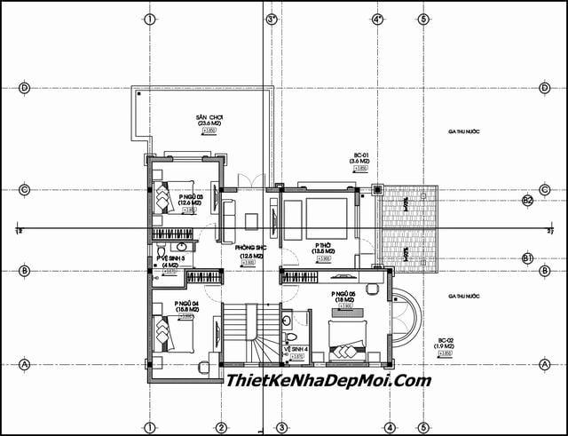 Bản vẽ thiết kế biệt thự 150m2 mái thái