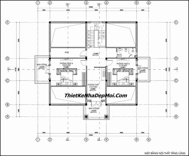 Bản vẽ thiết kế nhà 1.5 tầng có gác lửng