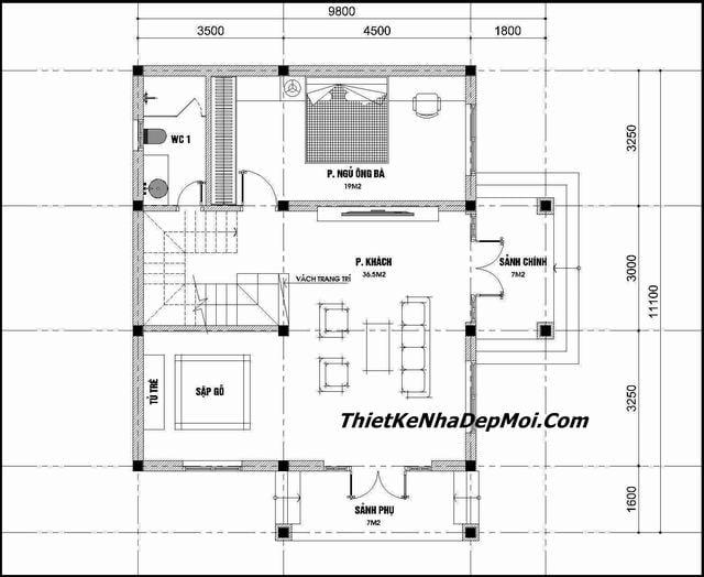 Bản vẽ nhà 2 tầng mái thái 90m2