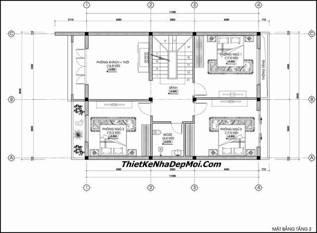 Thiết kế nhà có 6 phòng ngủ