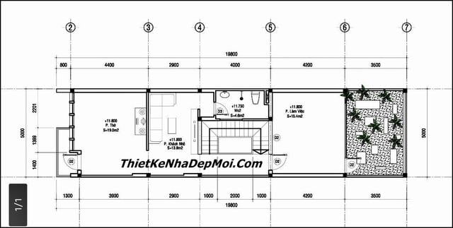 Bản vẽ xây nhà 4 tầng 5x20 mặt tiền 5m