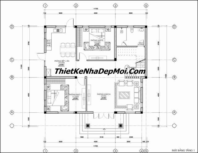 Bản vẽ thiết kế biệt thự 2 tầng hình vuông