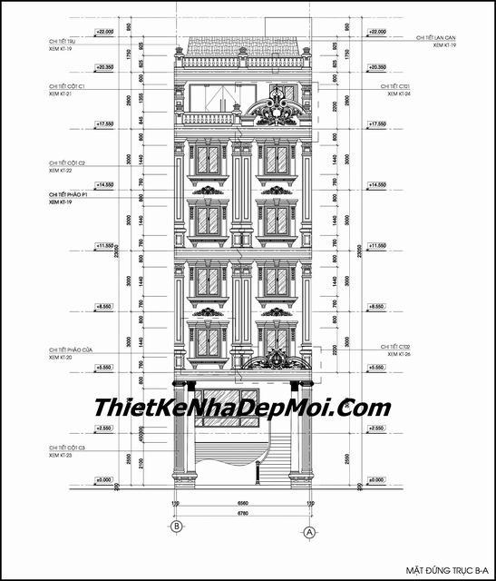 Bản vẽ thi công khách sạn 7 tầng mặt tiền 7m
