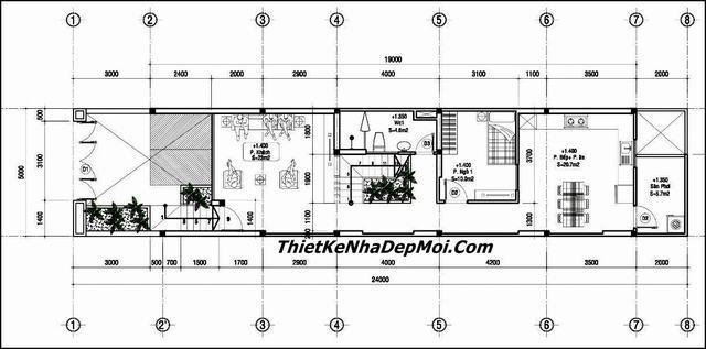 Bản vẽ thiết kế nhà diện tích 5x20