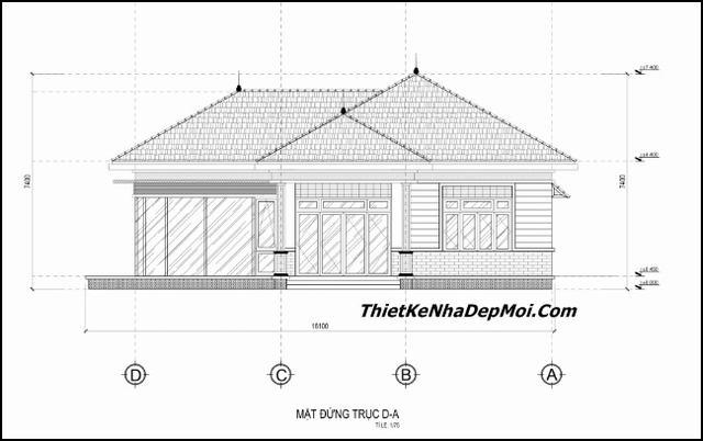 Bản vẽ chi tiết xây nhà mái ngói cấp 4