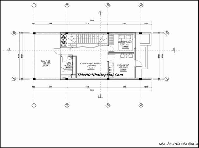 Bản vẽ thiết kế nhà ống mặt tiền 6m