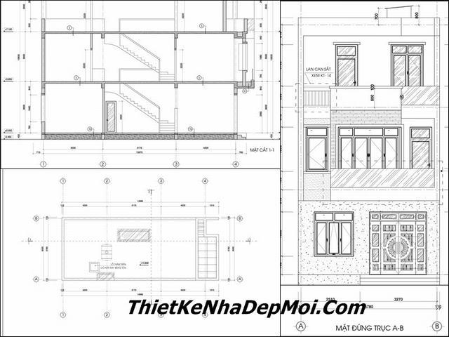 Bản vẽ thiết kế nhà mặt tiền 6m