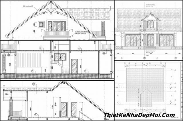 Bản vẽ xây nhà 1.5 tầng mái thái 200m2