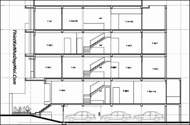 Kiến trúc nhà 4 tầng 5x20