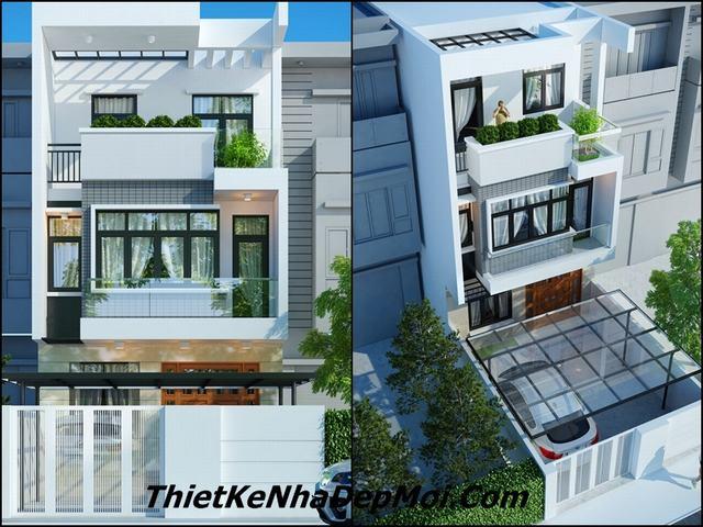 Mẫu nhà phố 3 tầng hiện đại mặt tiền 6m