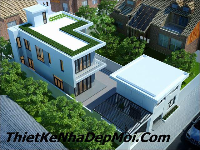 Mẫu nhà 2 tầng mặt tiền 10m hiện đại