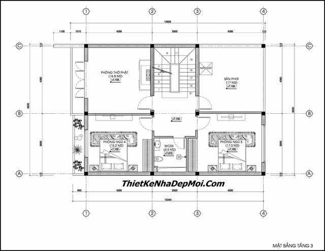 Bản vẽ thiết kế biệt thự 6 phòng ngủ