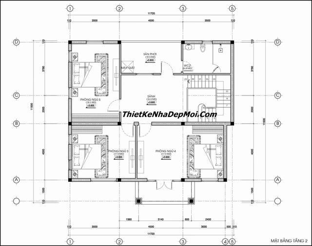 Bản vẽ xây nhà 2 tầng hình vuông