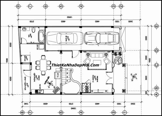 Bản vẽ biệt thự 2 tầng 9x14m