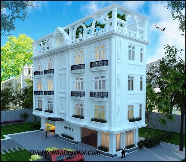 Bản vẽ khách sạn 5 tầng kiểu châu âu kiến trúc mini 2 sao đẹp