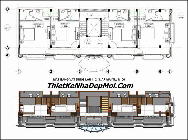 Khách sạn mini 1 trệt 4 lầu 1 sân thượng