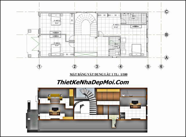 Bản vẽ thiết kế nhà 3 tầng 6.5x20m