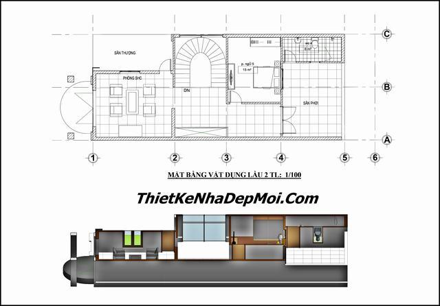 Thiết kế nhà phố 6.5m 3 tầng