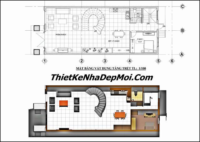 Bản vẽ thiết kế nhà rộng 6.5m x 17m