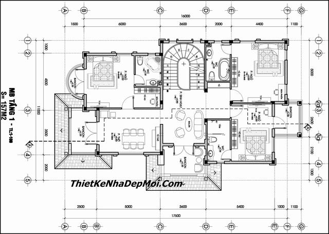 Bản vẽ thiết kế nhà vườn 2 tầng 160m2