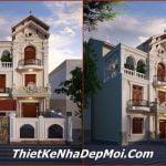 biệt thự 8m, Mẫu biệt thự 3 tầng mặt tiền 8m tân cổ điển 6 phòng ngủ ông Trung, Công ty thiết kế xây dựng Nhà Đẹp Mới, Công ty thiết kế xây dựng Nhà Đẹp Mới