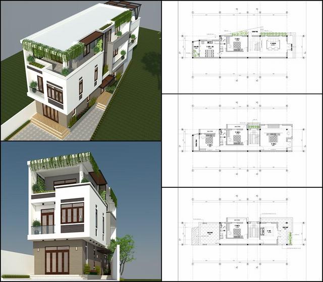 Bản vẽ xây nhà khuyết hậu