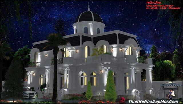 Hình ảnh nhà biệt thự kiểu pháp 2 tầng đẹp rộng 12m về đêm