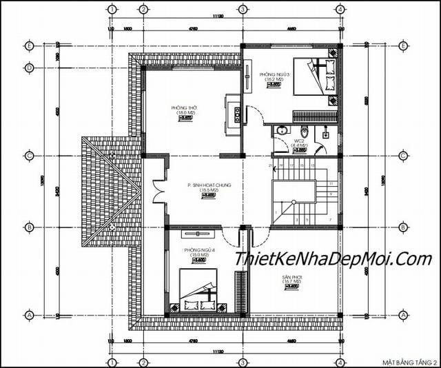 Bản vẽ thiết kế nhà 2 tầng 140m2