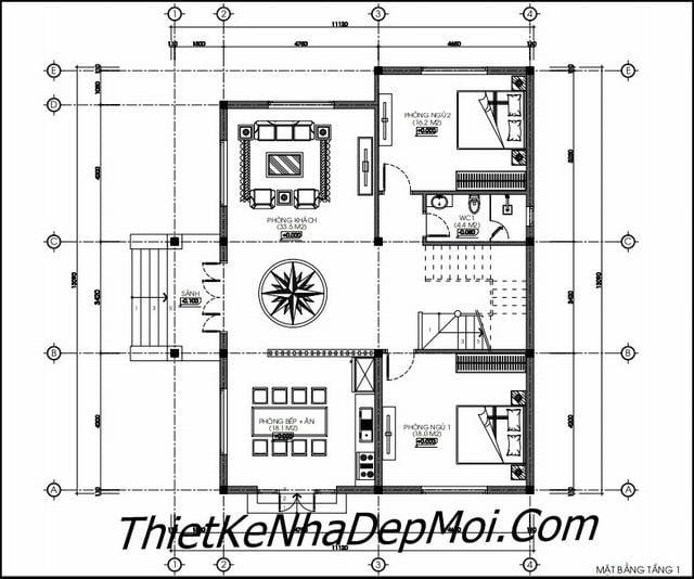 Bản vẽ nhà vườn 140m2 2 tầng