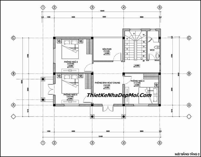 Bản vẽ thiết kế nhà 2 tầng 4 phòng ngủ