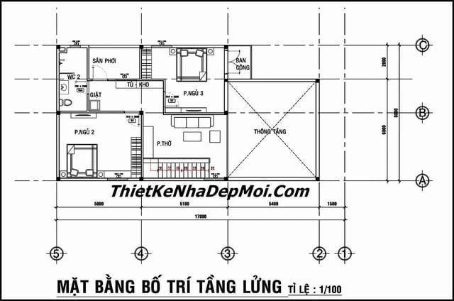 Thiết kế nhà cấp 4 có gác lửng 3 phòng ngủ
