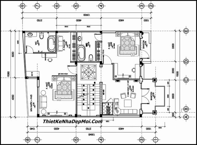 Bản vẽ thiết kế nhà 2 tầng 9x14m