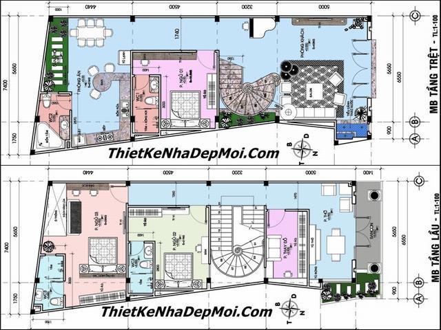 Bản vẽ thiết kế nhà phố 3 tầng 6.5m