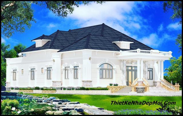 Mẫu nhà biệt thự sân vườn 4 phòng ngủ 2020