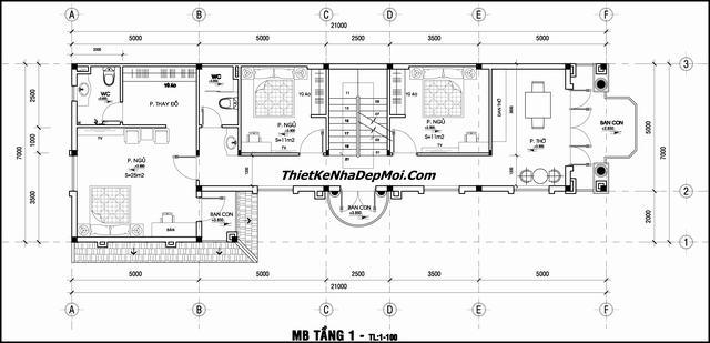 Bản vẽ xây nhà diện tích 7x21