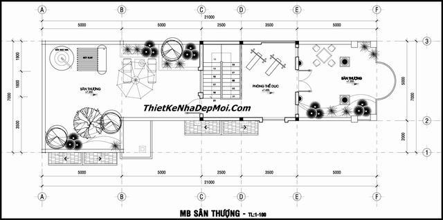 Bản vẽ nhà 2 tầng 1 tum 7x21