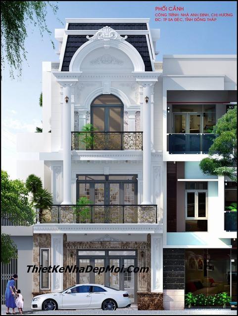 Mặt tiền nhà đẹp 6.5m 3 tầng 1 tum