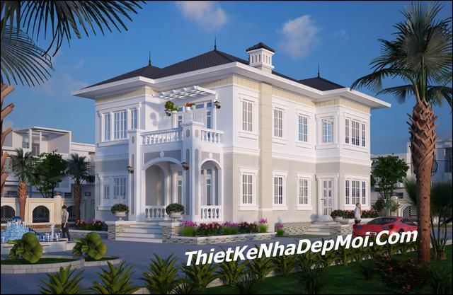 Nhà đẹp 2 tầng kiểu châu âu